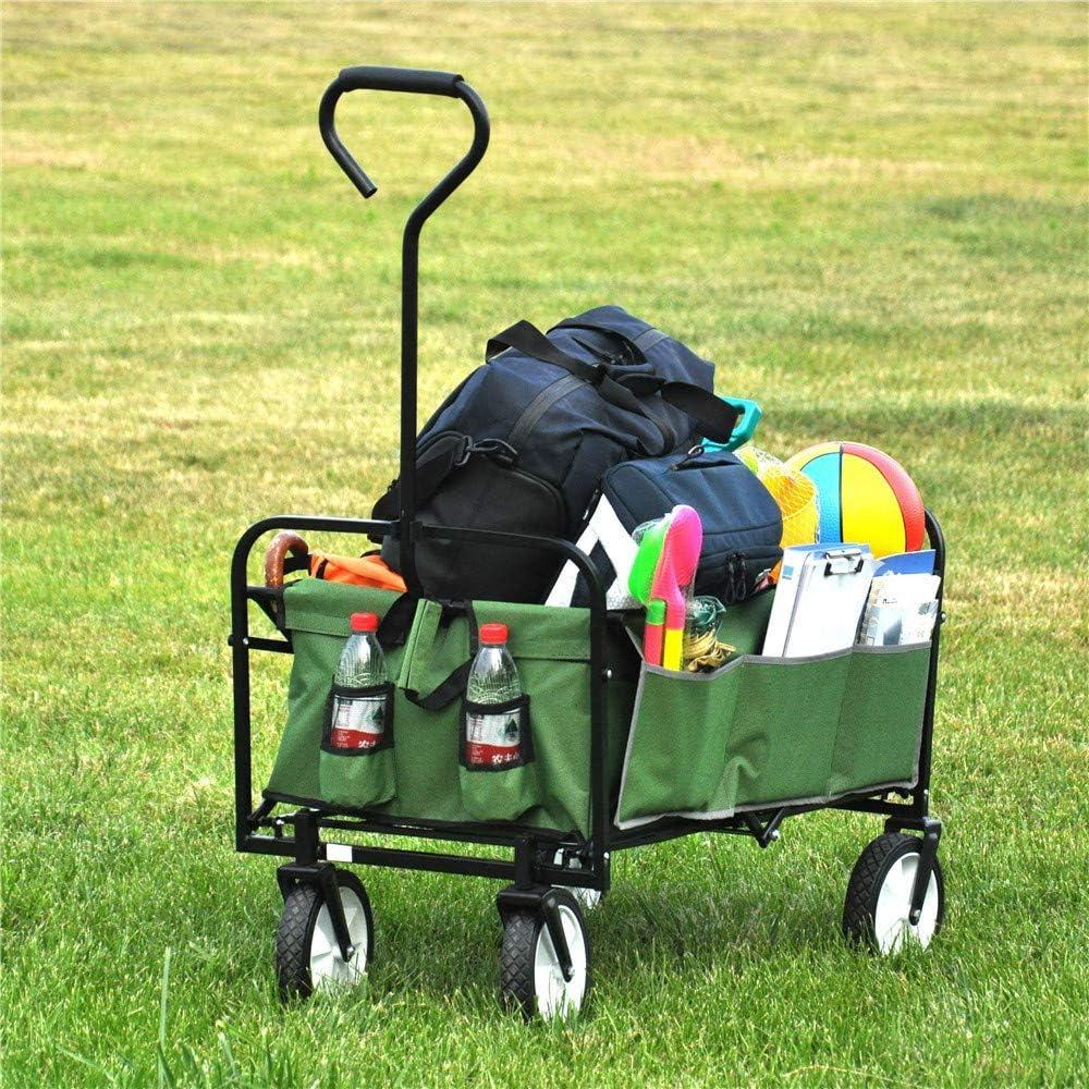 ALI VIRGO Folding Wagon, Collapsible Outdoor Utility Cart Garden Shopping Beach Camping with All-Terrain Wheels, Green
