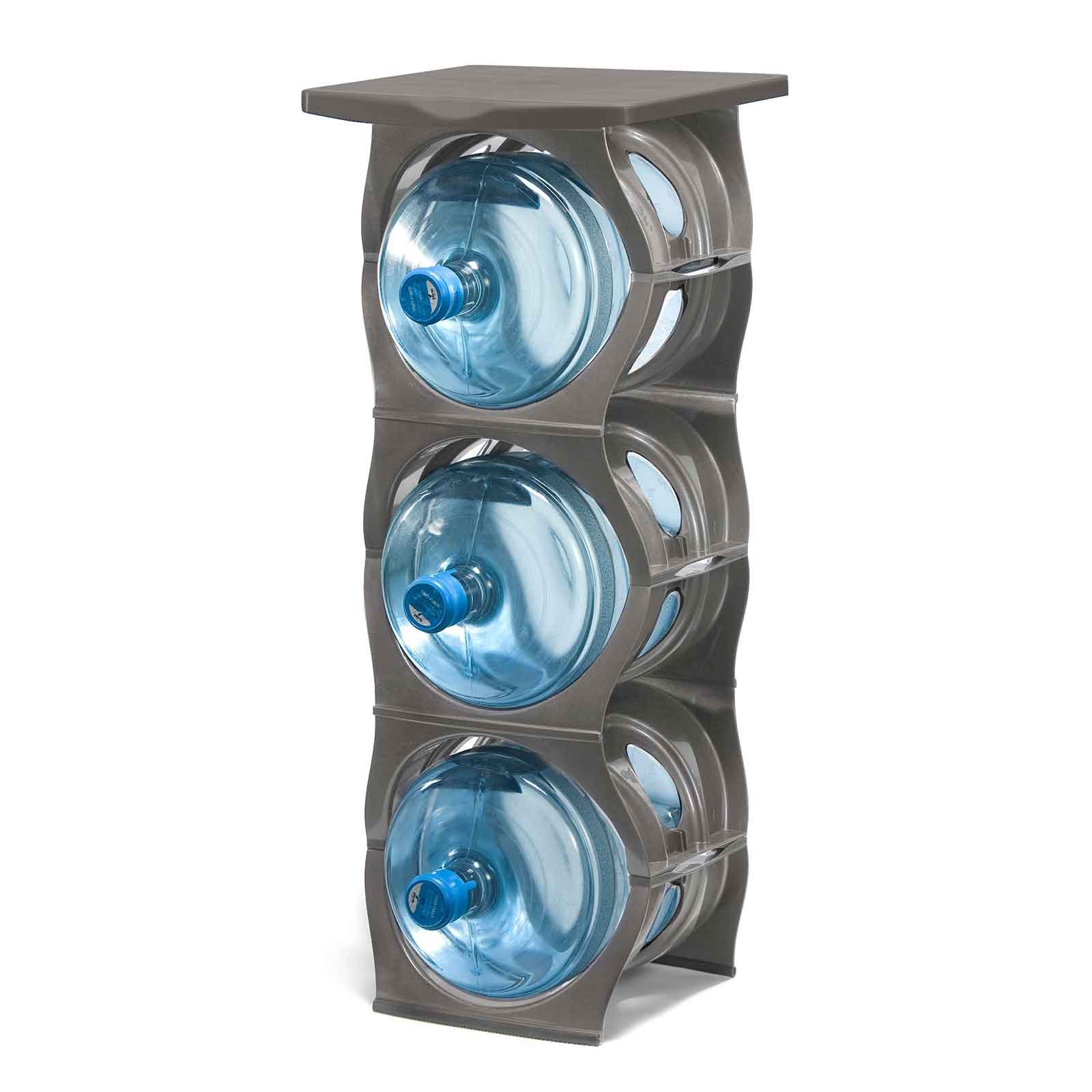 U-STACK Water Bottle Storage Rack - Holds Three 5 Gallon Bottles for Water Coolers (3 Bottle with Shelf) (Silver)