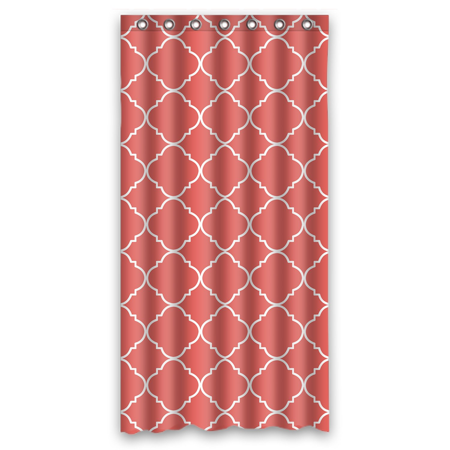 "36""(w) x 72""(L) (90cmx 180cm) Custom Coral Quatrefoil Pattern Bathroom Waterproof Polyester Fabric Shower Curtain"