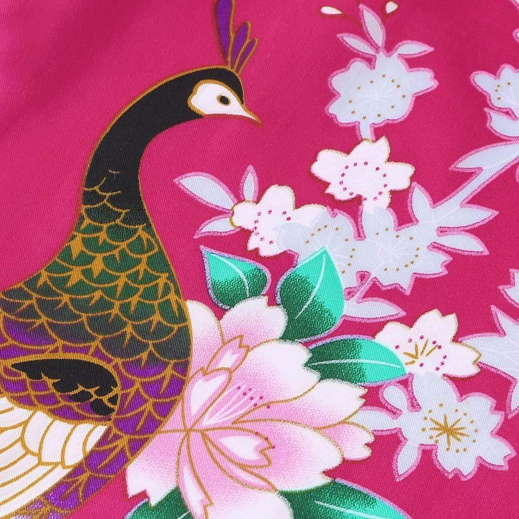 Lanhui Toddler Kid Girls Floral Silk Satin Kimono Robes Cardigan Bathrobe Home Sleepwear Lace-up Swimwear