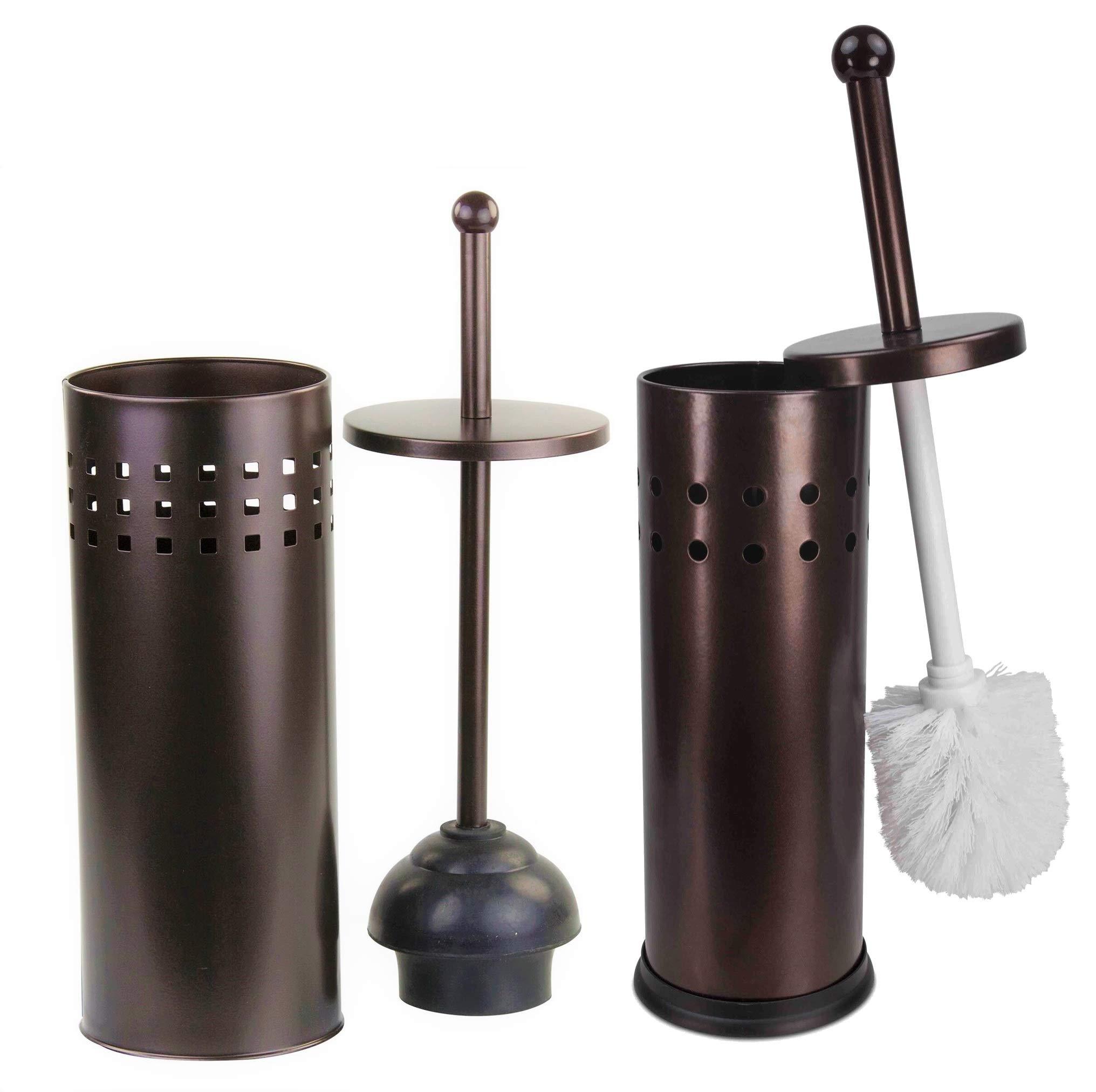 Elaine Karen Deluxe 2 pc Vented Toilet Bowl Brush, Plunger - 2 pc Set - Bronze