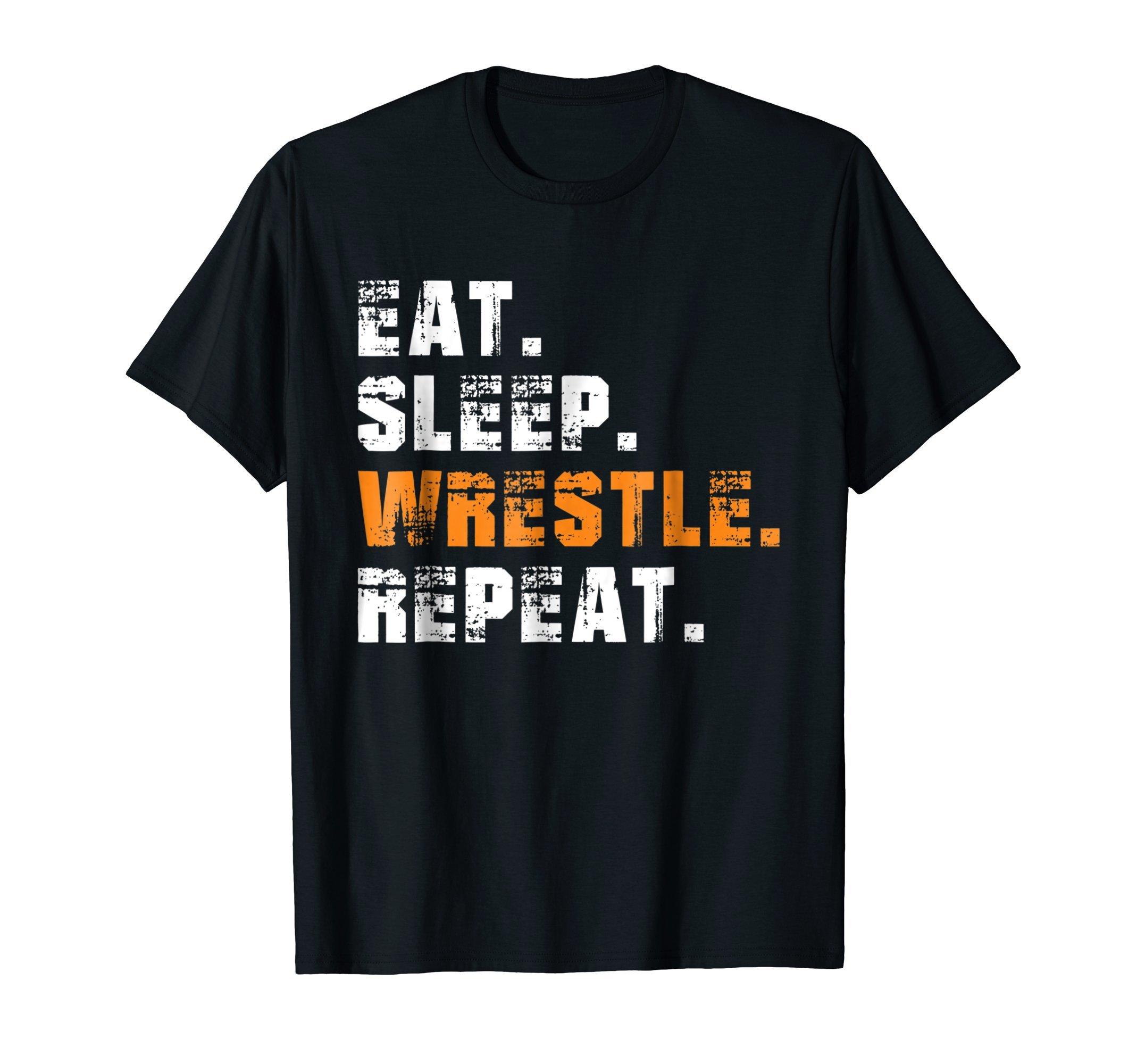 Eat Sleep Wrestle Repeat - Vintage Wrestling Sport T-Shirt by Wrestling Tee Shirts & Sport Coach Apparel