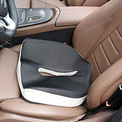 NIANPU Ergonomic Memory Foam Seat Cushion - Comfort Breathable Mesh Cover Cushion Provides Relief for Back Pain, Sciatica, Tailbone, Hip Shaping - Perfect for Car, Wheelchair, Office Chair: Home & Kitchen