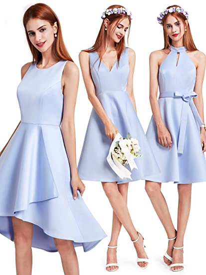 Ever Pretty Womens Sleeveless Simple and Classic High Low Short Bridemaid Dresses Blue 8 UK