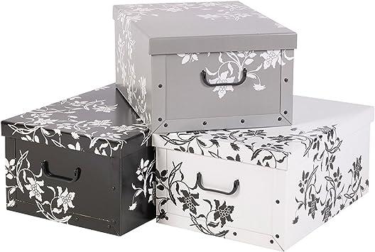 Easygift Products 3 Debajo Plegable Cartón Cajas Almacenaje Ligero con Tapas y Asas - Adamascado Diseño Floral: Amazon.es: Hogar