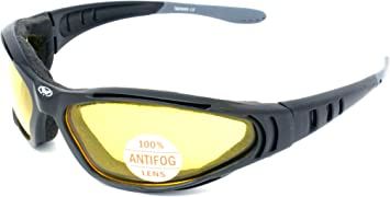 Gafas tinte amarillo para motociclista con cubierta de tela de espuma acolchada y lentes a prueba de impactos antiniebla, incluye funda gratis.