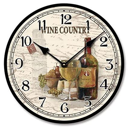 Wine Theme Country Wall Clock Wood With Canvas Finish Amazon Co Uk