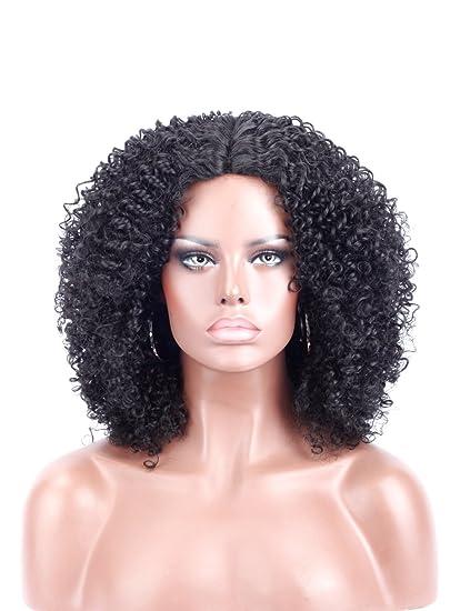 Kalyss - Peluca de pelo sintético afro Kinky rizado para mujeres negras de aspecto natural Kanekalon
