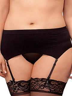 546d3cbed Amazon.com  Plus Size Hosiery Lingerie Lace Top Fishnet Thigh High ...