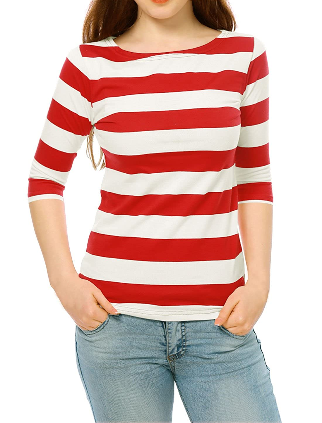 Sailor Dresses, Nautical Theme Dress, WW2 Dresses Allegra K Womens Elbow Sleeves Boat Neck Slim Fit Striped Tee $28.40 AT vintagedancer.com