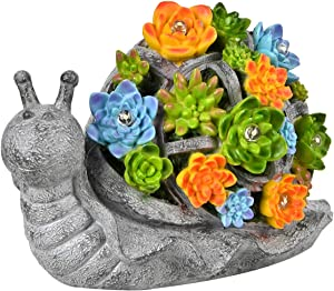 ASAWASA Snail Solar Garden Statues and Sculptures Outdoor Decor, Garden Figurines with Solar Powered Lights for Patio,Lawn,Yard Art Decoration, Housewarming Garden Gift,9.7x4.7x6.3 Inch