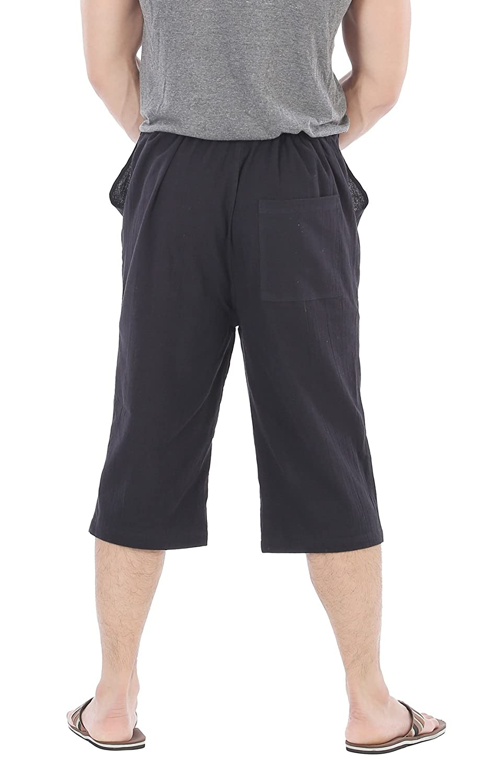 5ee2f99fa3 CandyHusky Men Cotton Casual Drawstring Loose Capri Yoga Pants Pyjamas One  Size (Black) at Amazon Men's Clothing store: