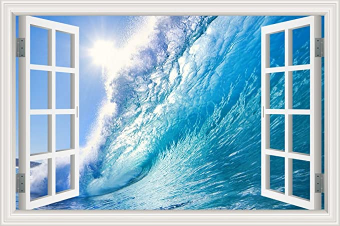 Greathomeart 3d Vinyl Wall Decals Art Ocean Window Frame Style Wall Decor Art Removable Sea Wave Wall Mural Poster Seascape Stickers For Bathroom 24 X36 Home Kitchen Amazon Com