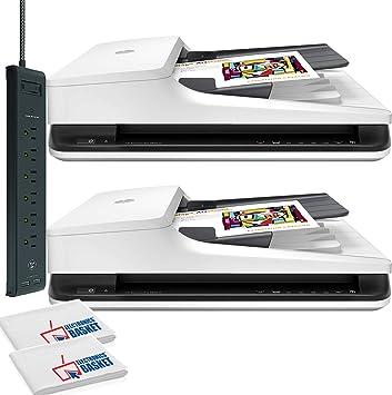 Amazon Com Hp Scanjet Pro 2500 F1 Flatbed Scanner 1200 Dpi Optical 24 Bit Color 8 Bit Grayscale 20 Ppm Usb With Power Strip Surge Protector Electronics Basket Microfiber Cloth 2 Pack Saver Electronics