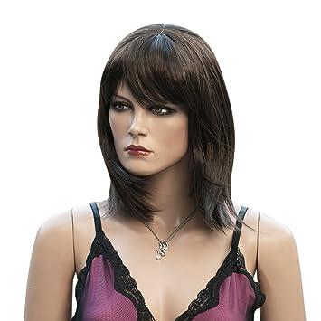 Songmics Peluca media melena Cabello sintético Mujer De moda para disfraz carnaval Castaño Oscuro WFY133