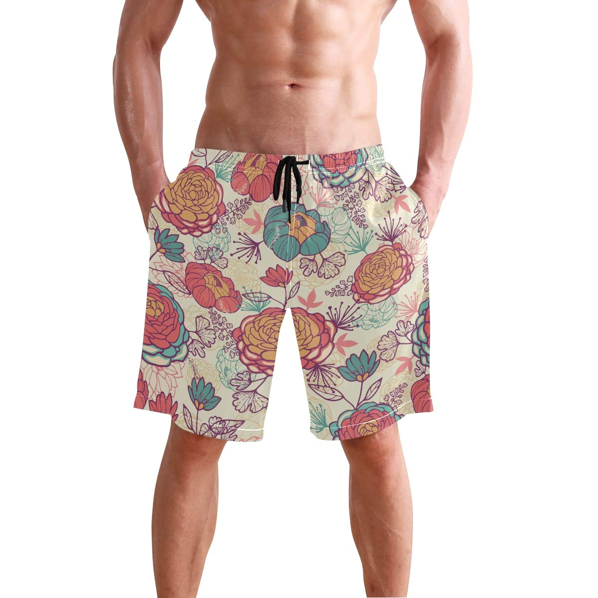 Humphy Albe Mens Fresh Peony Flowers and Leaves Quick Dry Bathing Suits Beach Board Shorts