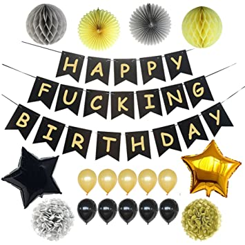 LOCCA Black And Gold Party Decorations Happy Fucking Birthday Bunting Banner Sign For 16th 21st
