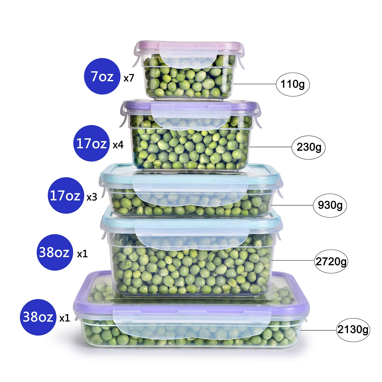 [16 Pack] Food Storage Containers with Lids, Plastic Food Containers with Lids, Airtight Storage Container Sets for Healthy Diet, Vegetables, Snack & Fruit (Small&Large Size), BPA Free & Leakproof by Bayco (Image #2)