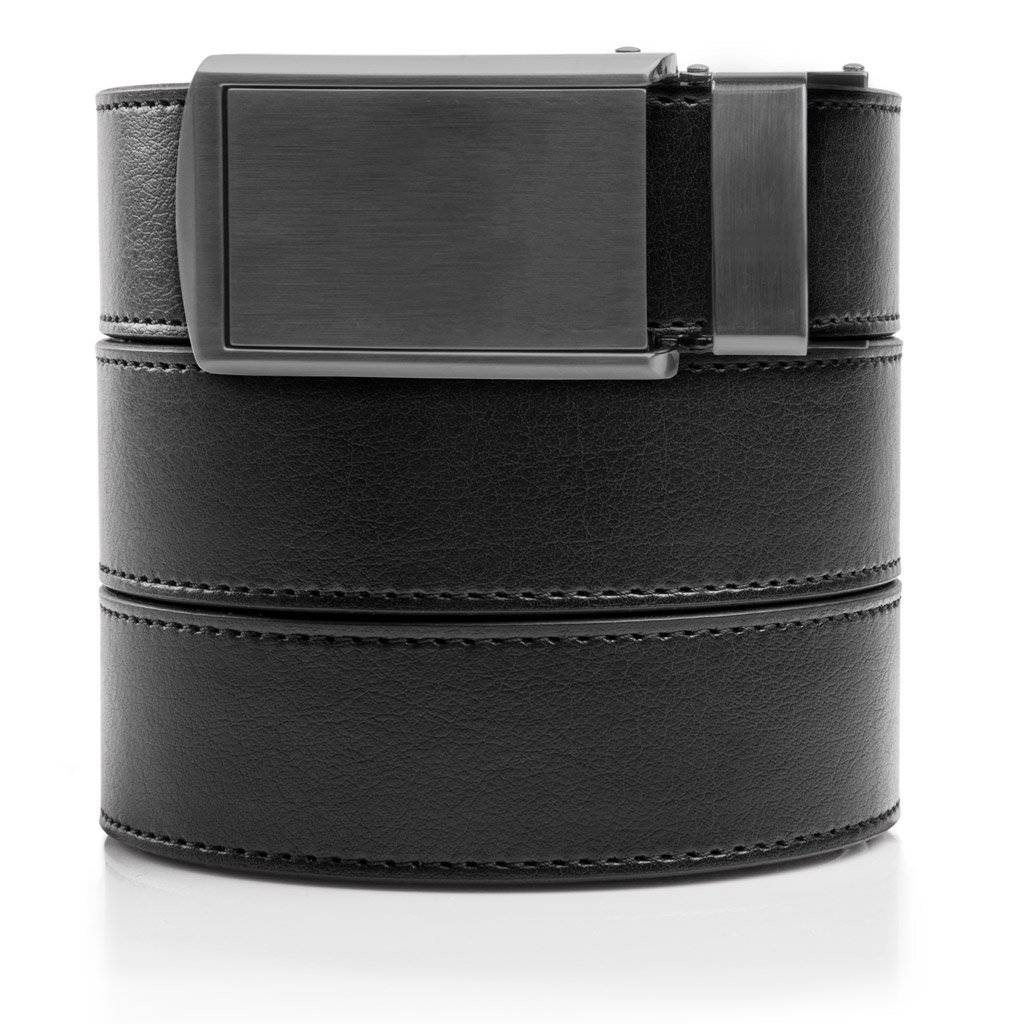 "SlideBelts Men's Vegan Leather Belt without Holes - Gunmetal Buckle/Black Leather (Trim-to-fit: Up to 48"" Waist)"
