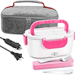 Electric Lunch Box Food Heater - Farochy Heating Lunch Box Heater Portable Microwave Electric Lunch Box 2 in 1 for Car and Home 110V & 12V, Stainless Steel Food Warmer and Heater (Pink)