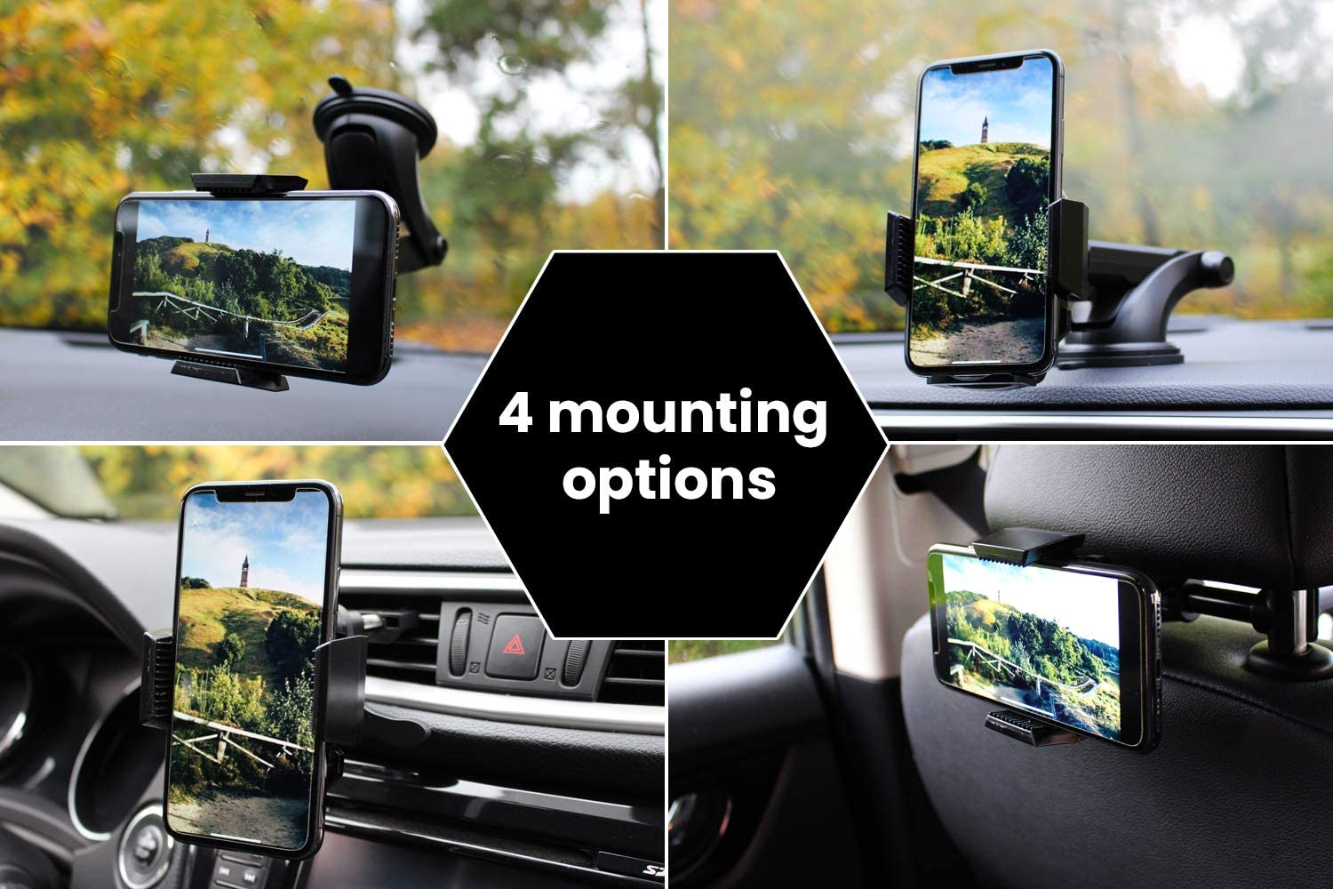 HACKSONE Car Phone Mount 4 in1 Universal Cell Phone Holder for Car Dashboard//Windshield//Air Vent and Headrest Phone Mount Compatible with iPhone11//11Pro//X Max//XR//XS//X//8Plus//8//7//Samsung Galaxy//Note