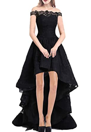 Rongstore Womens Cap Sleeve Lace Formal High Low evening Dresses Black US0