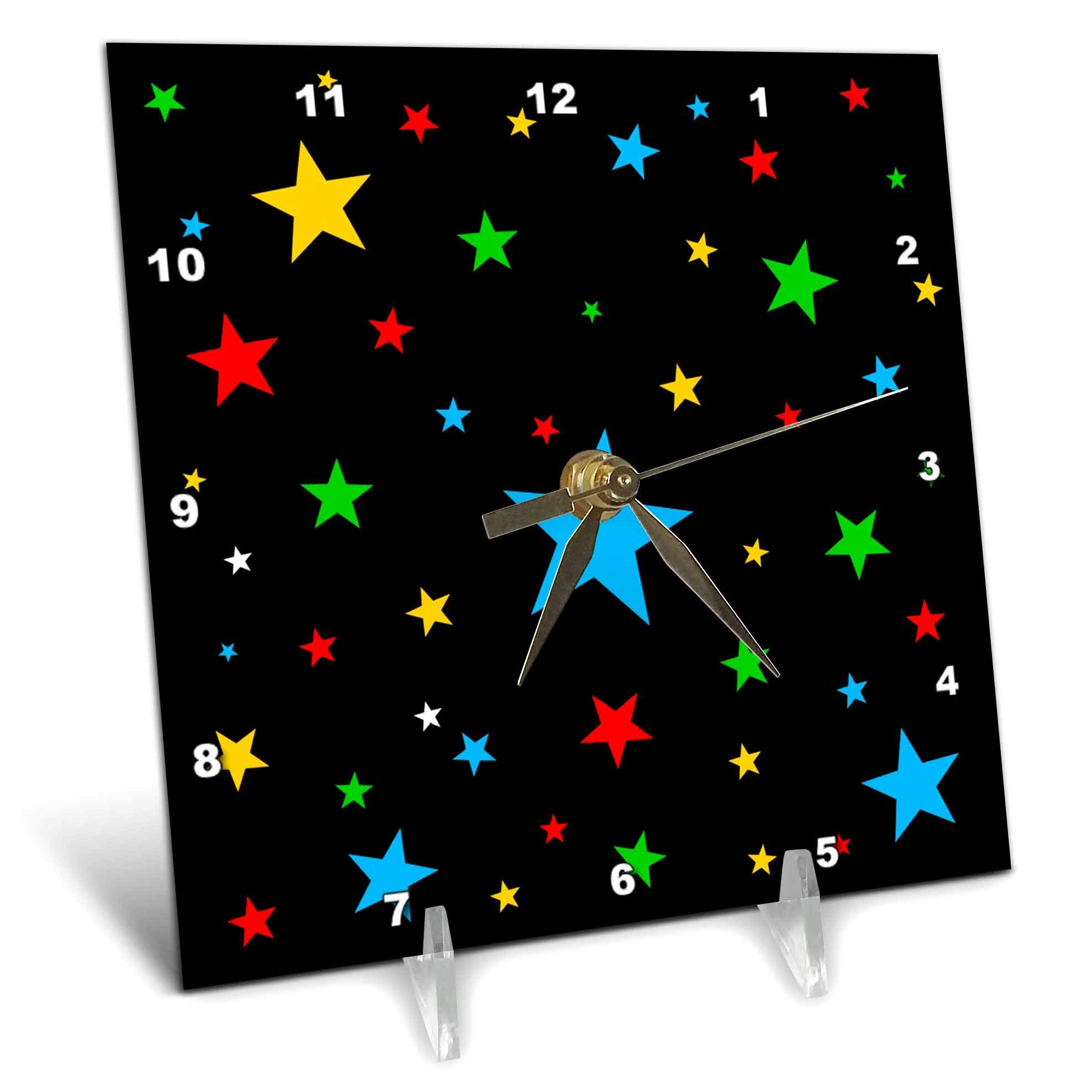 3dRose Alexis Design - America - Fifty Stars Of Freedom. Colorful stars against the black backdrop - 6x6 Desk Clock (dc_288372_1) by 3dRose (Image #1)