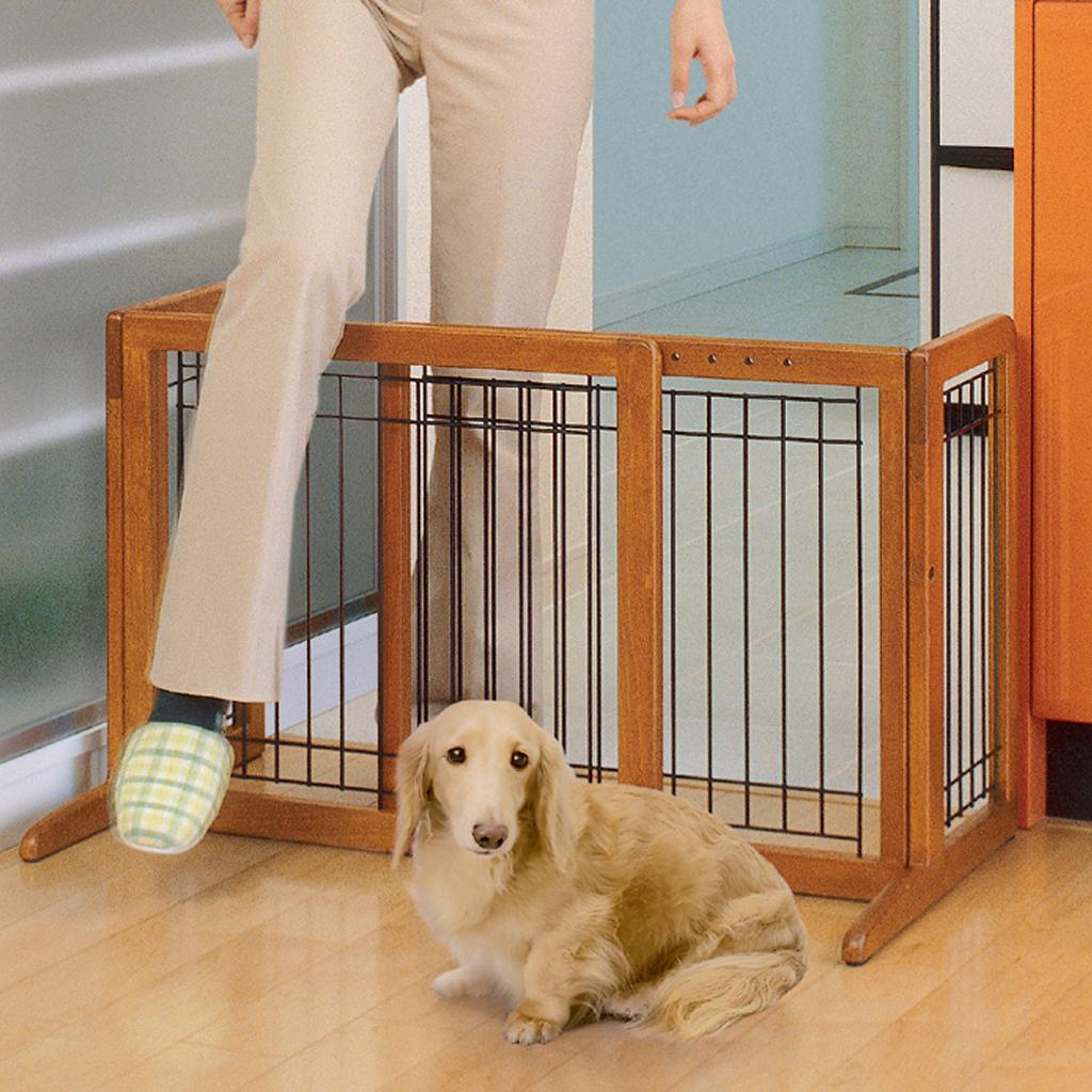 Freestanding Pet Gate Dog Extra Wide Large Wood Safety