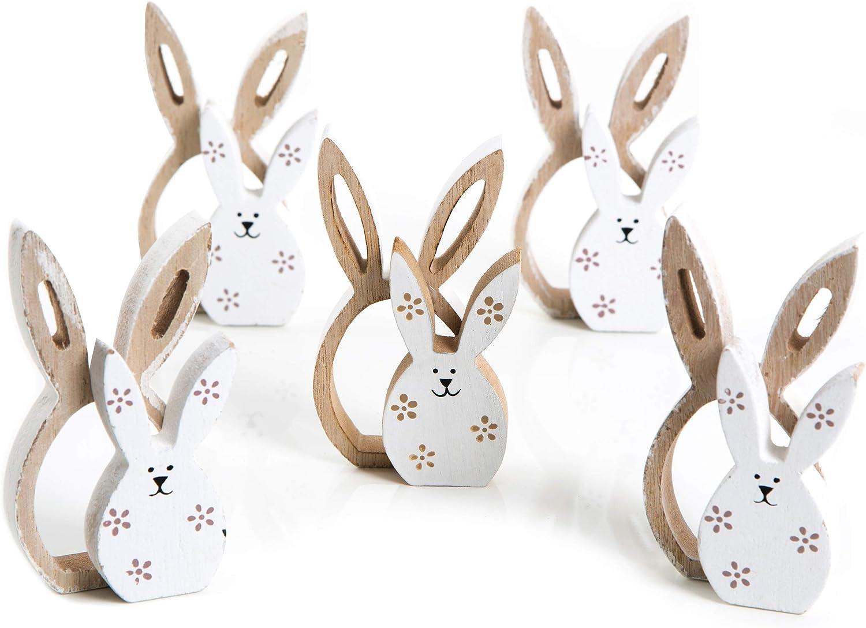 Logbuch-Verlag Lot de 2 lapins de P/âques en bois marron et blanc 2 figurines /à poser avec c/œur 23,5 cm
