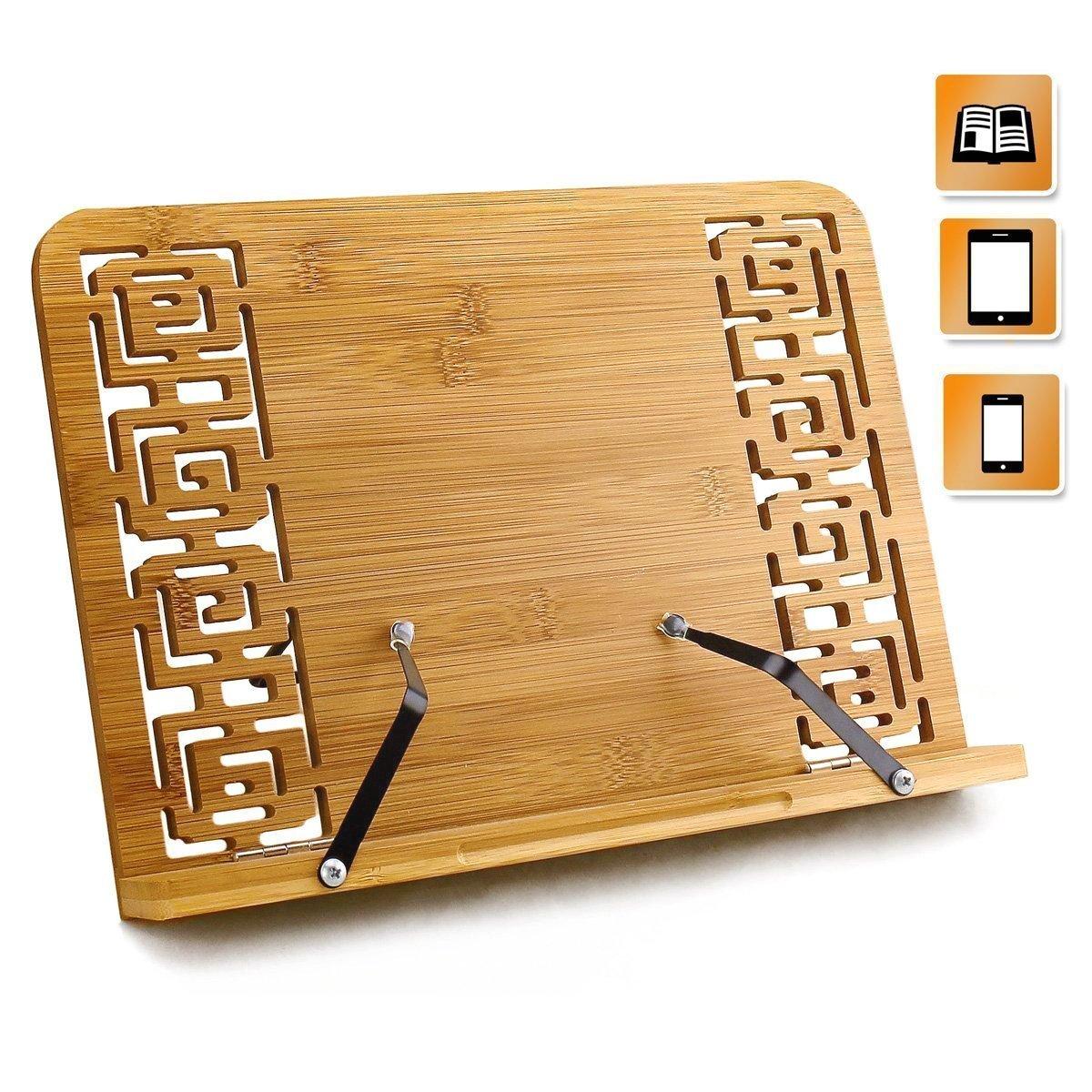 leggio in bambù, leggio da tavolo, Reggilibri con supporto regolabile e motivo elegante per ricettario, ricetta, iPad Air 2 3 4, Kindle, Samsung Tablet PC e altro ancora Joyoldelf ZBI-CJ013
