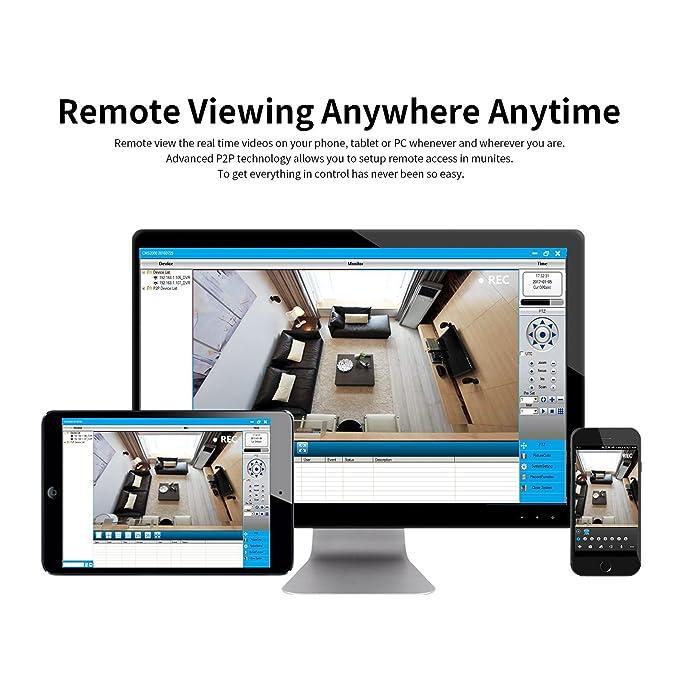 DEFEWAY Kit de Cámaras de Vigilancia Seguridad, 8CH 1080N DVR Con 4 x 720P Con Camaras, IR-Cut, HDMI, 24 LEDs, 1TB Disco Duro de vigilancia, ...