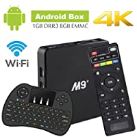 Android TV Box Amlogic S905X Cortex A53 64Bit Wifi 4K UHD H.265 Smart TV Box Quad Core 8GB 1GB, With Mini Wireless Keyboard, Play Games Movies without Freezing and Buffering