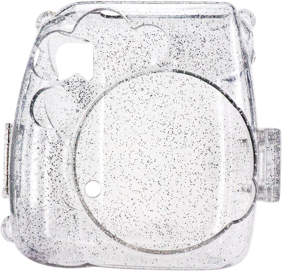 Crystal Elvam Transparent Camera Case Bag Compatible for Fujifilm Mini 9 Mini 8 Instant Camera with Detachable Adjustable Strap