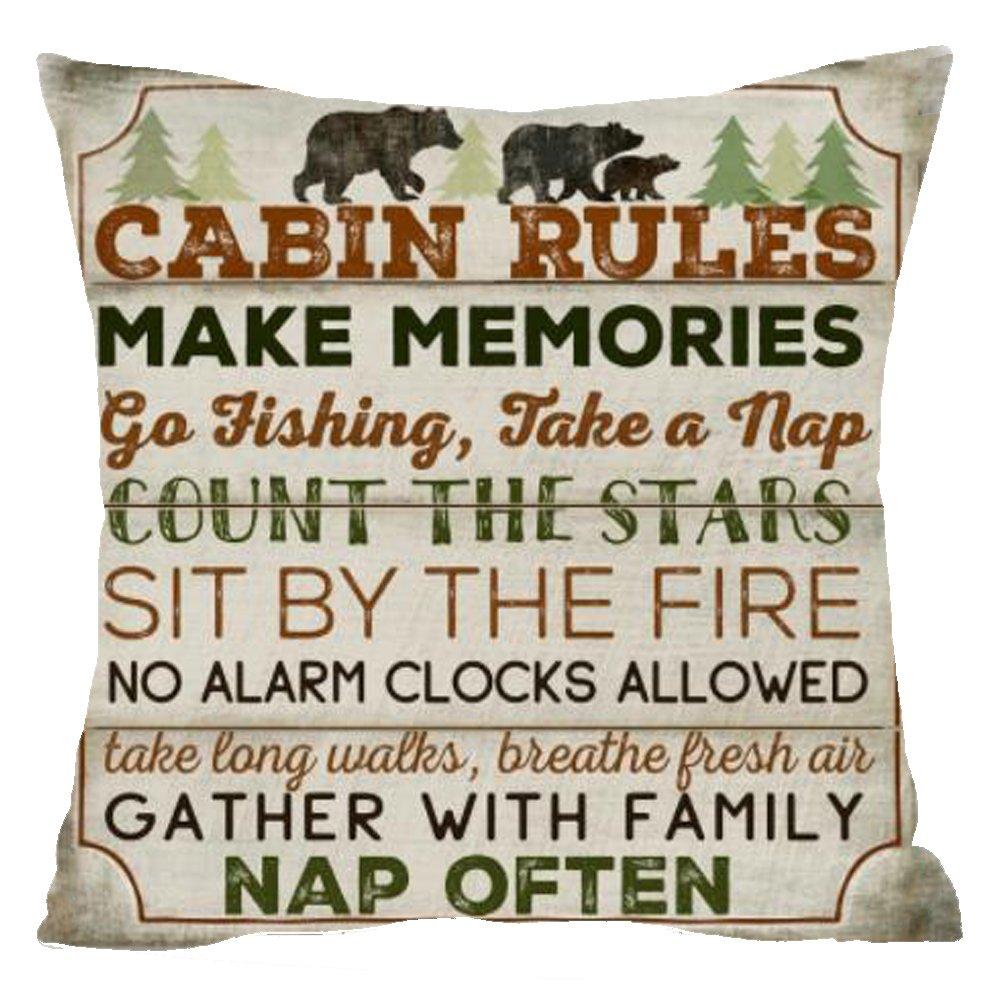 "Nordic Retro Wood wild animal bear cabin rules count startree pine Cotton Linen Square Throw Waist Pillow Case Decorative Cushion Cover Pillowcase Sofa 18""x 18"" (18''x18'', 4)"