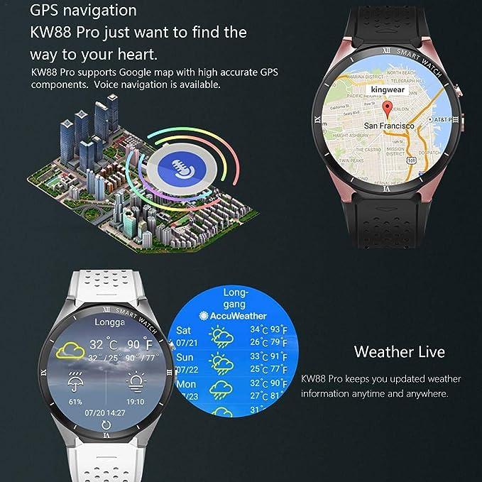 ALIAN Smart Watch, kingwear kw88 Pro 3 G Smart Mirando Android 7.0 ...