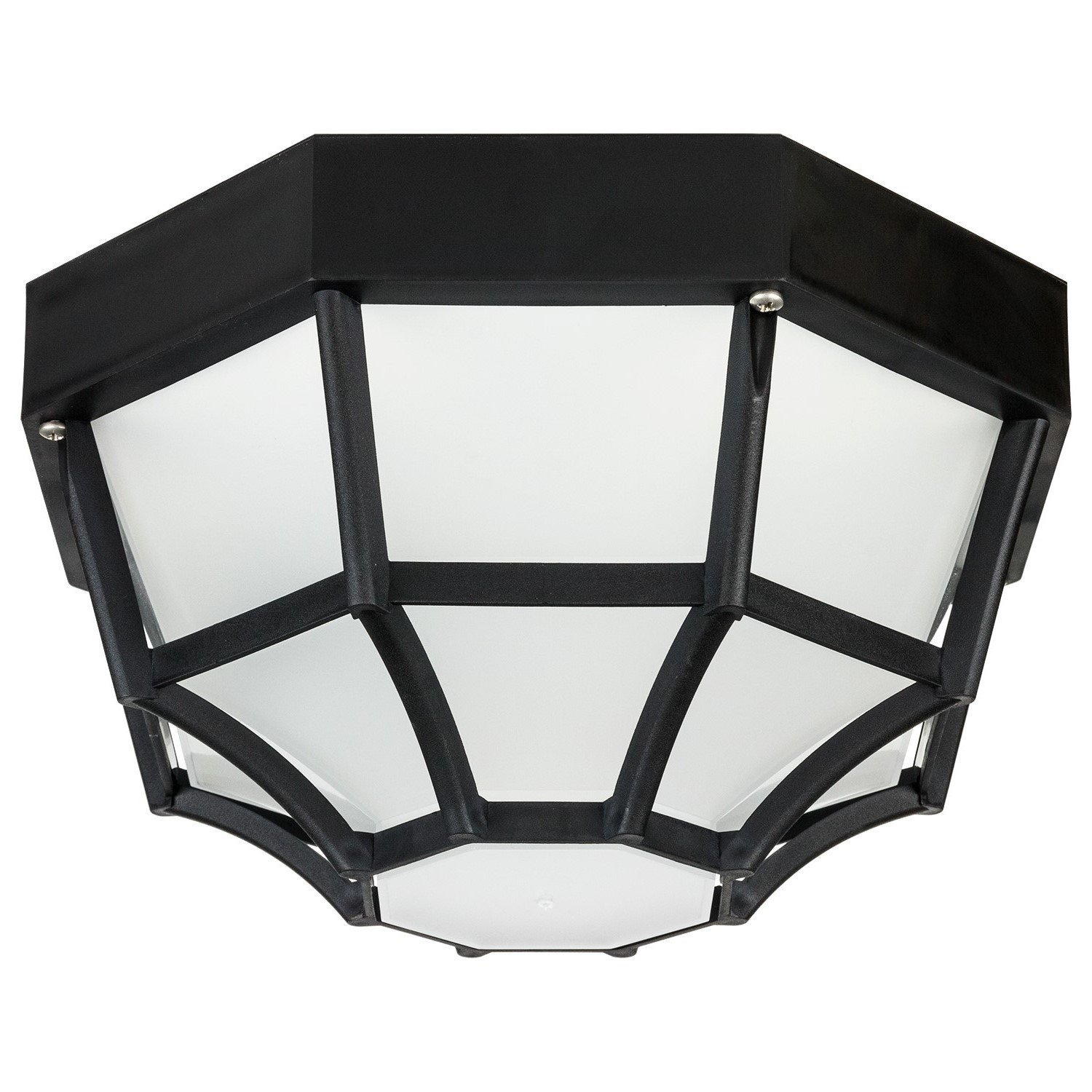 Sunlite 48240-SU DOD/OC/BK/FR/GU24 Decorative Outdoor Energy Saving Octagonal Collection Polycarbonate Fixture, Black Finish, Frosted Lens by Sunlite