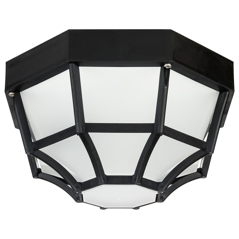 Sunlite 47238-SU DOD/OC/BK/FR/MED Decorative Outdoor Octagonal Collection Polycarbonate Fixture, Black Finish, Frosted Lens by Sunlite