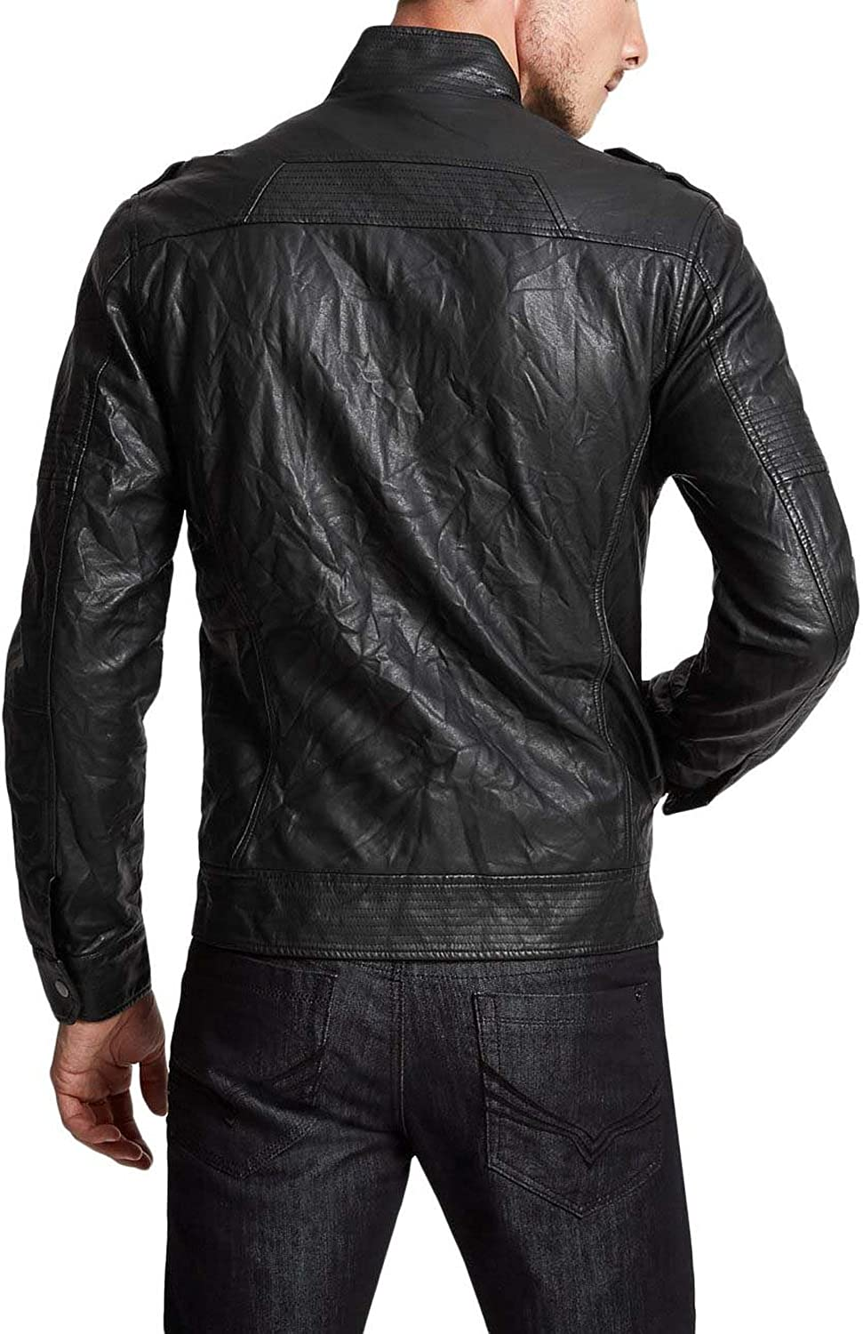 Kingdom Leather Mens Genuine Lambskin Leather Jacket Slim Fit Moto Biker Jacket X250