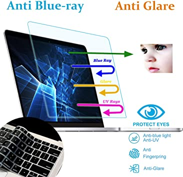 Anti Blue Light Screen Filter for MacBook Pro 15 Model A1707 A1990 2016-2019 Anti Glare Screen Protector Eye Protection for MacBook Pro 15 with Keyboard Cover Webcam Cover 2 Pack