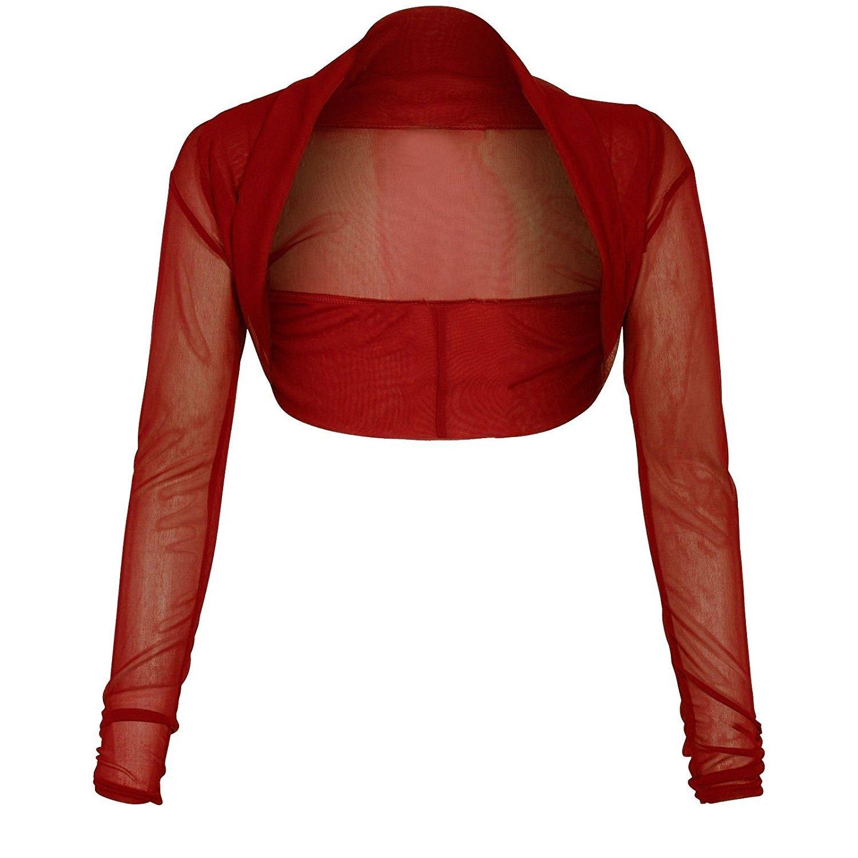 Ladies Long Sleeve Mesh Sheer Chiffon Cropped Bolero CA Size 6-24 Momo&Ayat Fashions