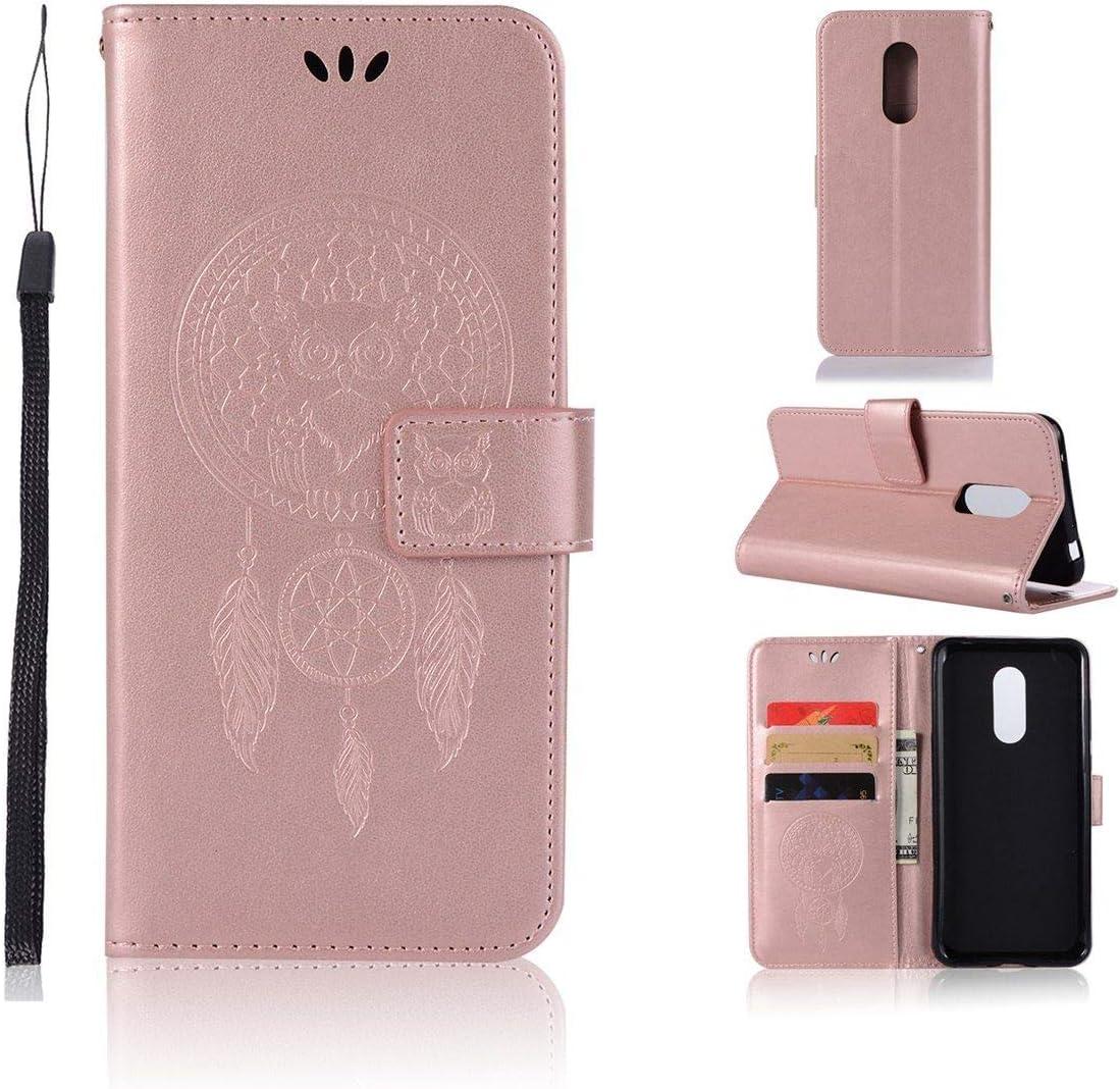 Sangrl Funda para Xiaomi Redmi 5 Plus, Libro Cuero de la Premium PU Leather Case búho Pattern Protective Case para Xiaomi Redmi 5 Plus - Rose Gold