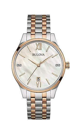 Bulova Diamond Reloj de cuarzo para mujer con Madre de Pearl Dial analógico Display y dos