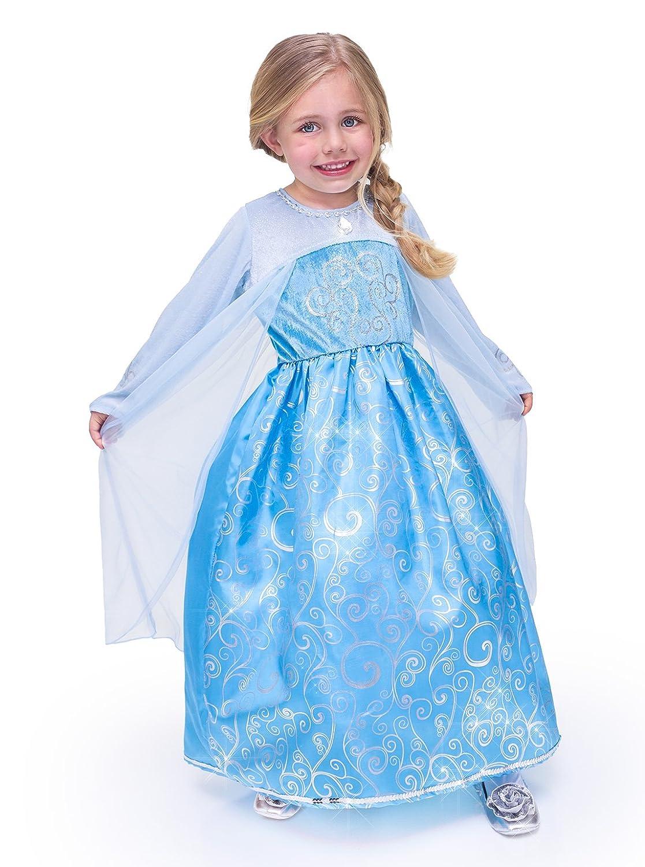 Amazon.com: Princess Dress Blue Queen (Elsa from Frozen) Gown Dress ...