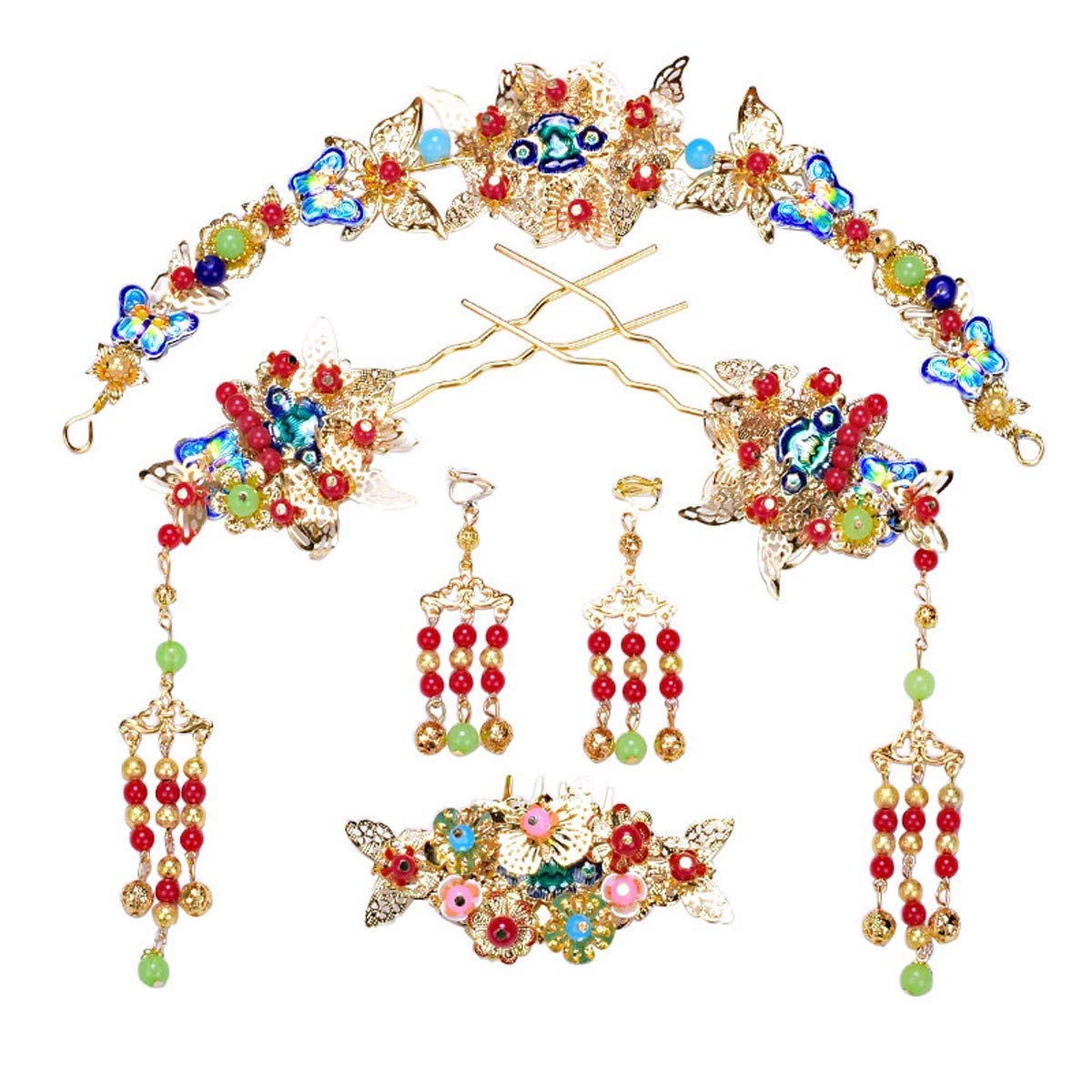 Wedding Crown, Beautiful headdress/Bridal Headwear Red Beads Ancient Costumes Antique Fringes Chinese Xiu Wo Wedding Accessories