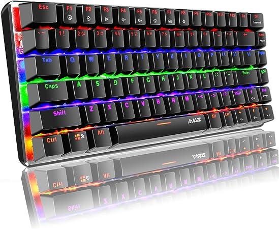 Teclado mecánico, AK33 Rainbow LED con retroiluminación LED Cable USB Teclado mecánico para Juegos, 82 Teclas Teclado Compacto para Juegos con Teclas ...