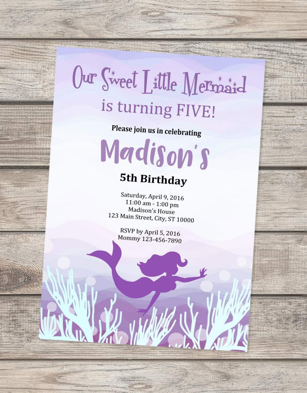 Pink Under The Sea Invitation Mermaid Silhouette Invitation Turquoise Mermaid Invite Purple Mermaid Birthday Party Invitation Purple