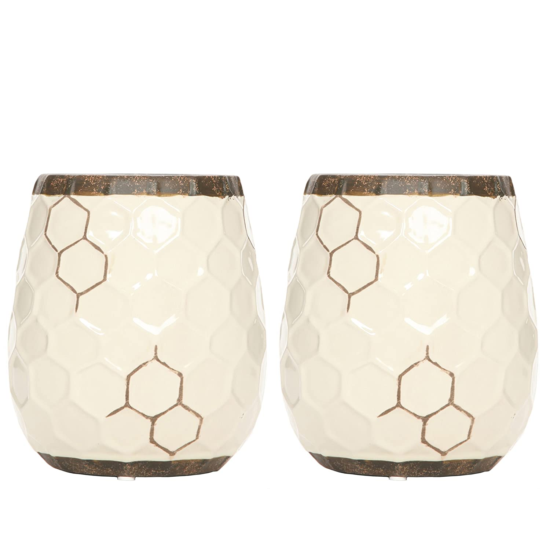 Amazoncom Hosley Set Of 2 Ceramic Honeycomb Vases  55