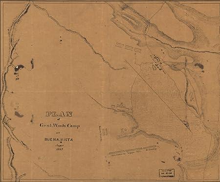 1847 Map Buenavista Saltillo Coahuila Mexico 1 Ms 41 X 50
