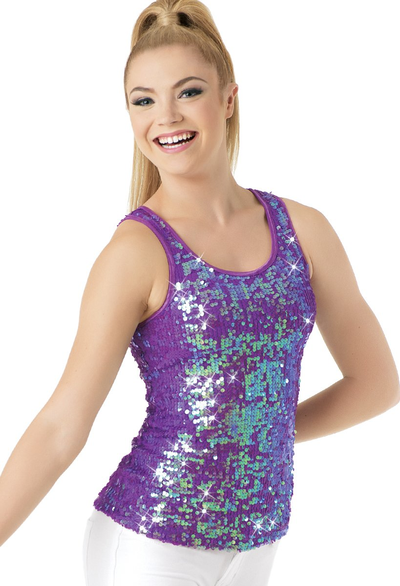 Balera Dance Sparkle Tank Iridescent Sequin Electric Purple Child Large by Balera