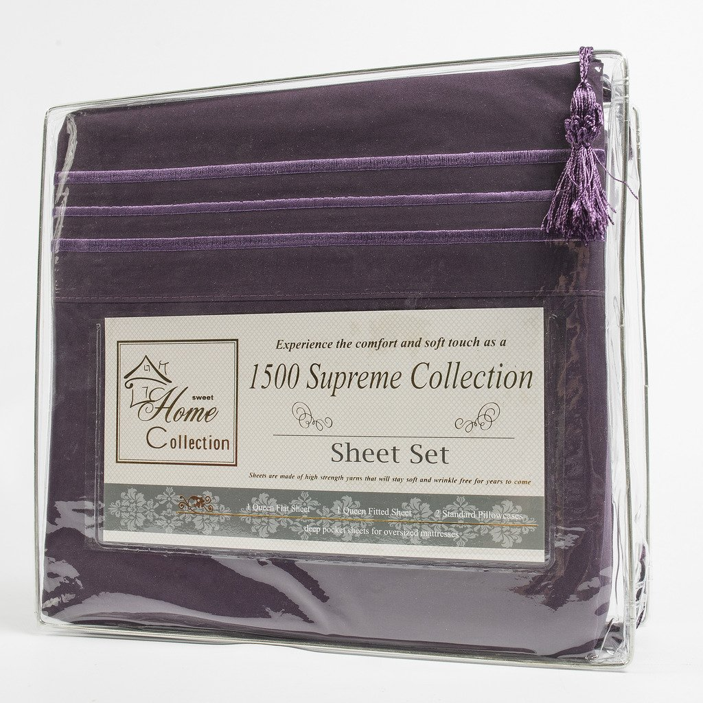 1500 Supreme Collection Extra Soft Queen Sheets Set, Purple